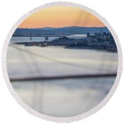 Golden Gate Bridge San Francisco California West Coast Sunrise Round Beach Towel