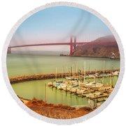 Golden Gate Bridge Sausalito Round Beach Towel