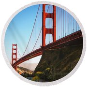 Golden Gate Bridge Sausalito Round Beach Towel by Doug Sturgess