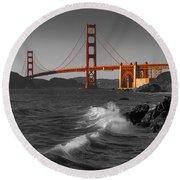 Golden Gate Bridge Sunset Study 1 Bw Round Beach Towel