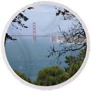 Golden Gate Bridge Through The Trees Round Beach Towel