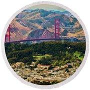 Golden Gate Bridge - Twin Peaks Round Beach Towel