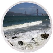 Golden Gate Bridge With Surf Round Beach Towel