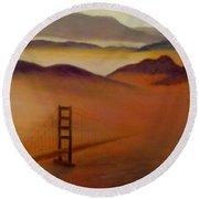 Golden Gate Fog Round Beach Towel