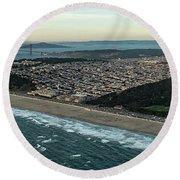 Golden Gate Park And Ocean Beach In San Francisco Round Beach Towel