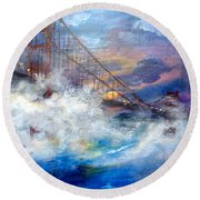 Golden Gate Sunset Round Beach Towel