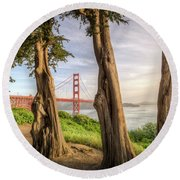 The Trees Of The Golden Gate Round Beach Towel