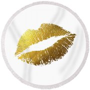 Gold Lips Round Beach Towel