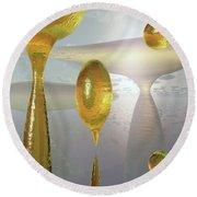 Golden Globs Round Beach Towel