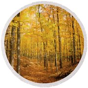Golden Glory Round Beach Towel
