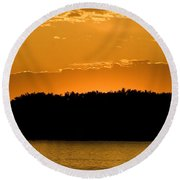 Golden Glow Sunset Round Beach Towel