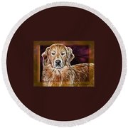 Golden Glowing Retriever Round Beach Towel
