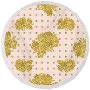 Golden Gold Blush Pink Floral Rose Cluster W Dot Bedding Home Decor Round Beach Towel