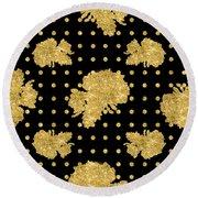 Golden Gold Floral Rose Cluster W Dot Bedding Home Decor Art Round Beach Towel