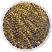 Golden Grains - Hoarfrost On A Solar Panel Round Beach Towel