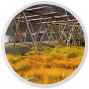 Golden Gras And Fish Drying Rack Round Beach Towel by Heiko Koehrer-Wagner