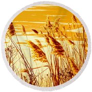 Golden Grasses Round Beach Towel