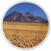 Golden Grasslands And Miniques Volcano Chile Round Beach Towel