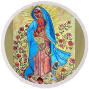 Golden Guadalupe Round Beach Towel