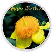 Golden Guinea Happy Birthday Round Beach Towel
