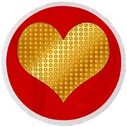 Golden Heart Red Round Beach Towel