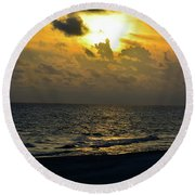 Golden Heavens Round Beach Towel