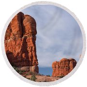Golden Hoodoos Arches Np Round Beach Towel