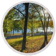 Golden Hour At Tenkiller State Park Round Beach Towel