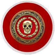 Golden Human Skull On Red   Round Beach Towel