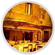 Golden Italian Cafe Round Beach Towel by Carol Groenen