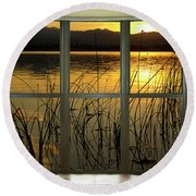 Golden Lake Bay Picture Window View Round Beach Towel