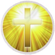 Golden Latin Cross With Sunbeams Round Beach Towel