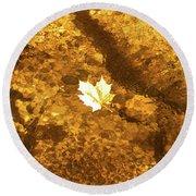 Golden Leaf In Water Round Beach Towel