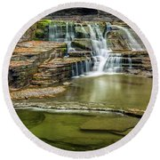 Golden Leaves And Mossy Tiers Of Enfield Glen Waterfall Round Beach Towel
