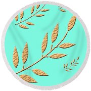 Golden Leaves On Aqua Round Beach Towel
