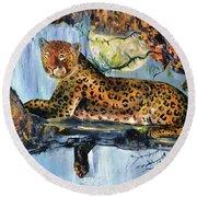 Golden Leopard Round Beach Towel
