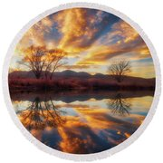 Golden Light On The Pond Round Beach Towel