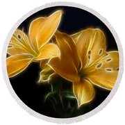 Golden Lilies Round Beach Towel