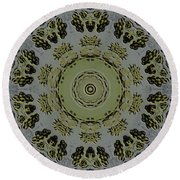 Mandala In Pewter And Gold Round Beach Towel