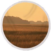 Golden Marshes Round Beach Towel