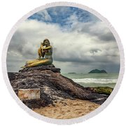 Golden Mermaid Thailand Round Beach Towel