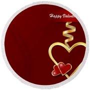 Golden Metal Frame Heart Round Beach Towel