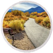 Golden Moments In Mammoth Round Beach Towel