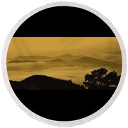 Golden Morning Above The Clouds Round Beach Towel