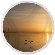 Golden Morning Flight Round Beach Towel