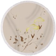 Golden Morning Glory Flowers Sumi-e Illustration Artistic Design Round Beach Towel