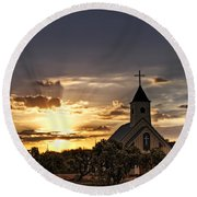Golden Morning Light  Round Beach Towel