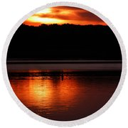 Golden Night Round Beach Towel