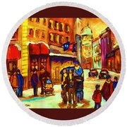 Golden Olden Days Round Beach Towel