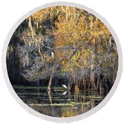 Golden On The River Round Beach Towel